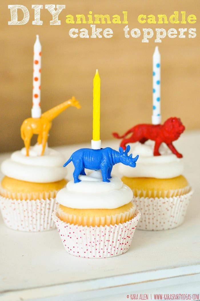 DIY-animal-candle-cake-cupcake-toppers-via-Kara-Allen-Karas-Party-Ideas-KarasPartyIdeas.com-Giraffe-Lion-Rhino-Jungle-or-zoo-animal-party-ideas-