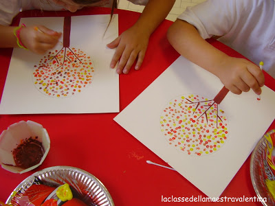 Q Tip Art Project Painting Fall Trees Cute Kids Finds