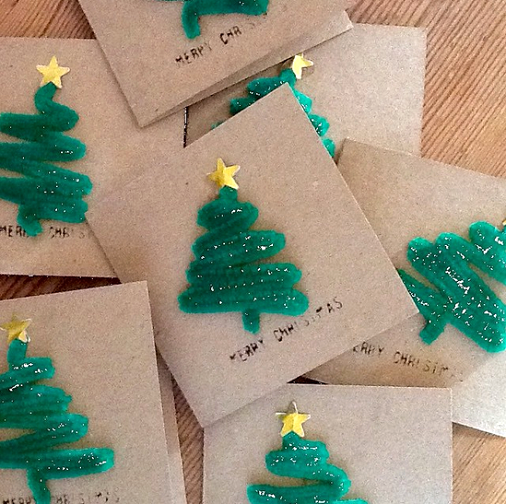 Pipecleaner-christmas-tree-craft-for-cards