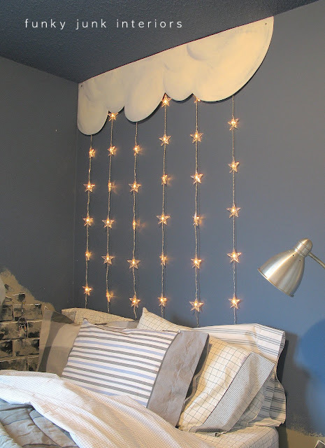 Unique headboards clouds and stars kids room