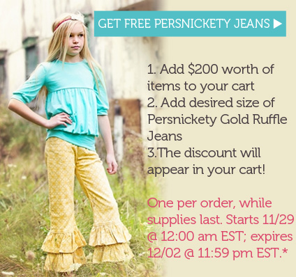 Get FREE Persnickety ruffle jeans in gold