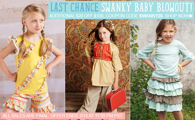 Save Additional $20 During Swanky Baby Blowout Sale